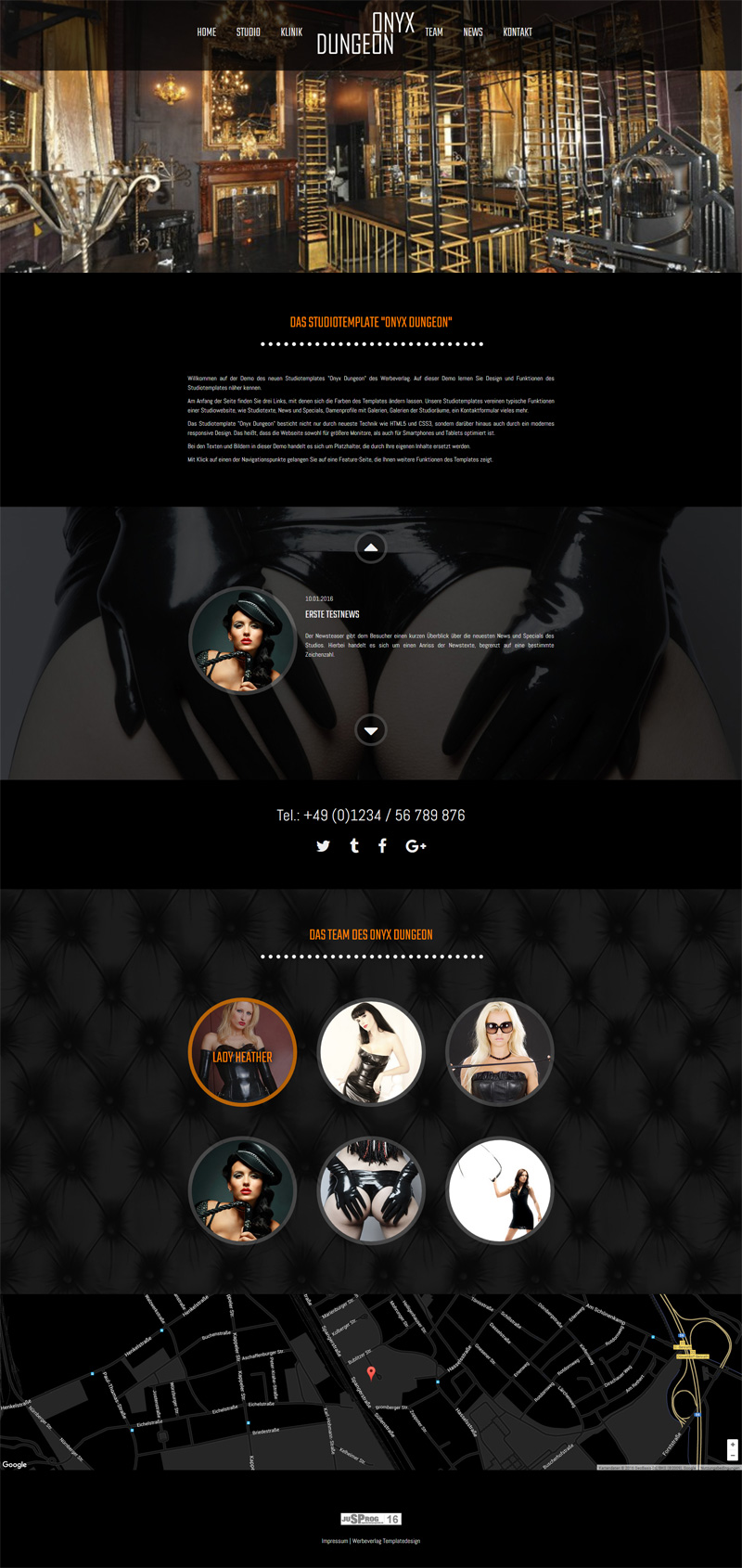 Funktionen des Studio-Templates 'Onyx'