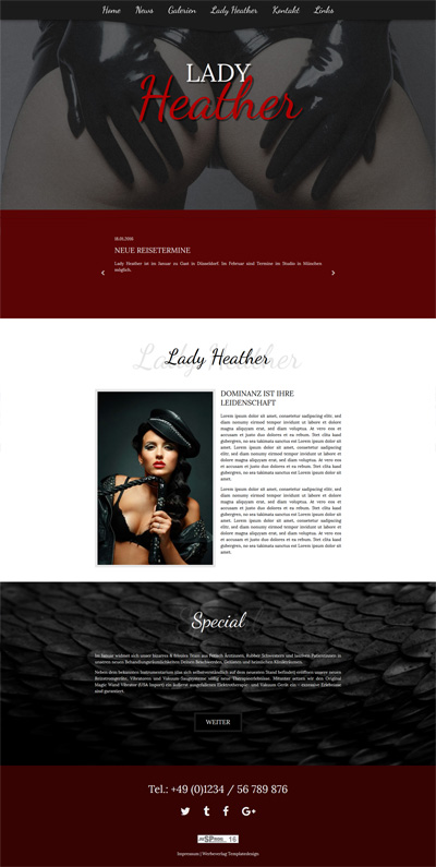 Funktionen des Lady-Templates 'Heather'